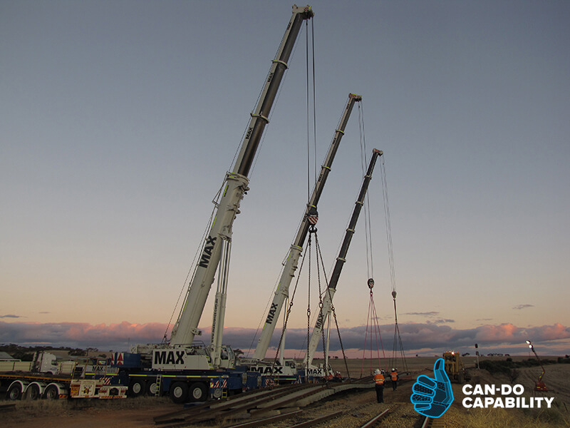 Sunset 80 Tonne 3-Crane Lift - Max Cranes