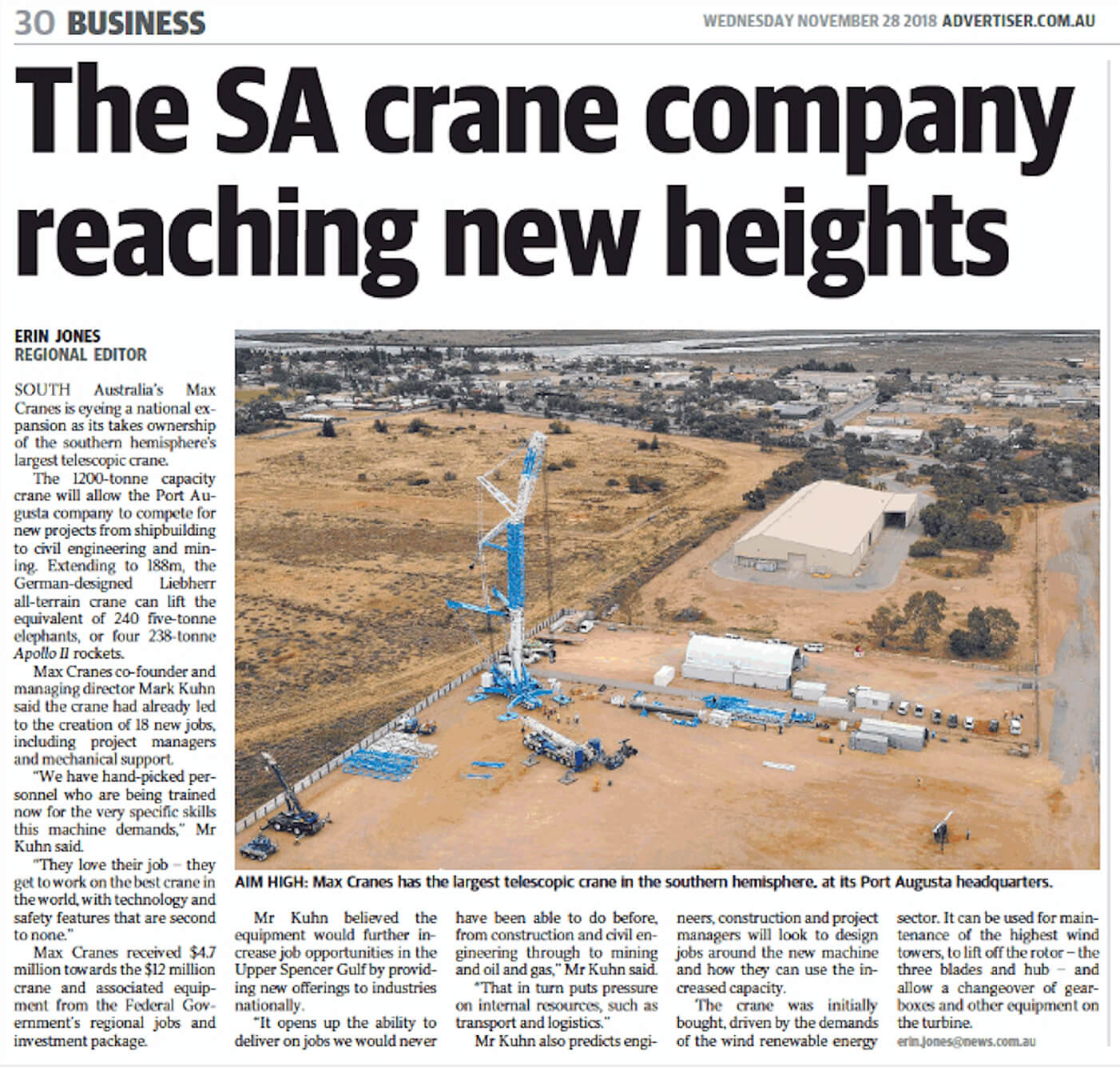 The SA Crane Company Reaching New Heights (Advertiser) - MAX