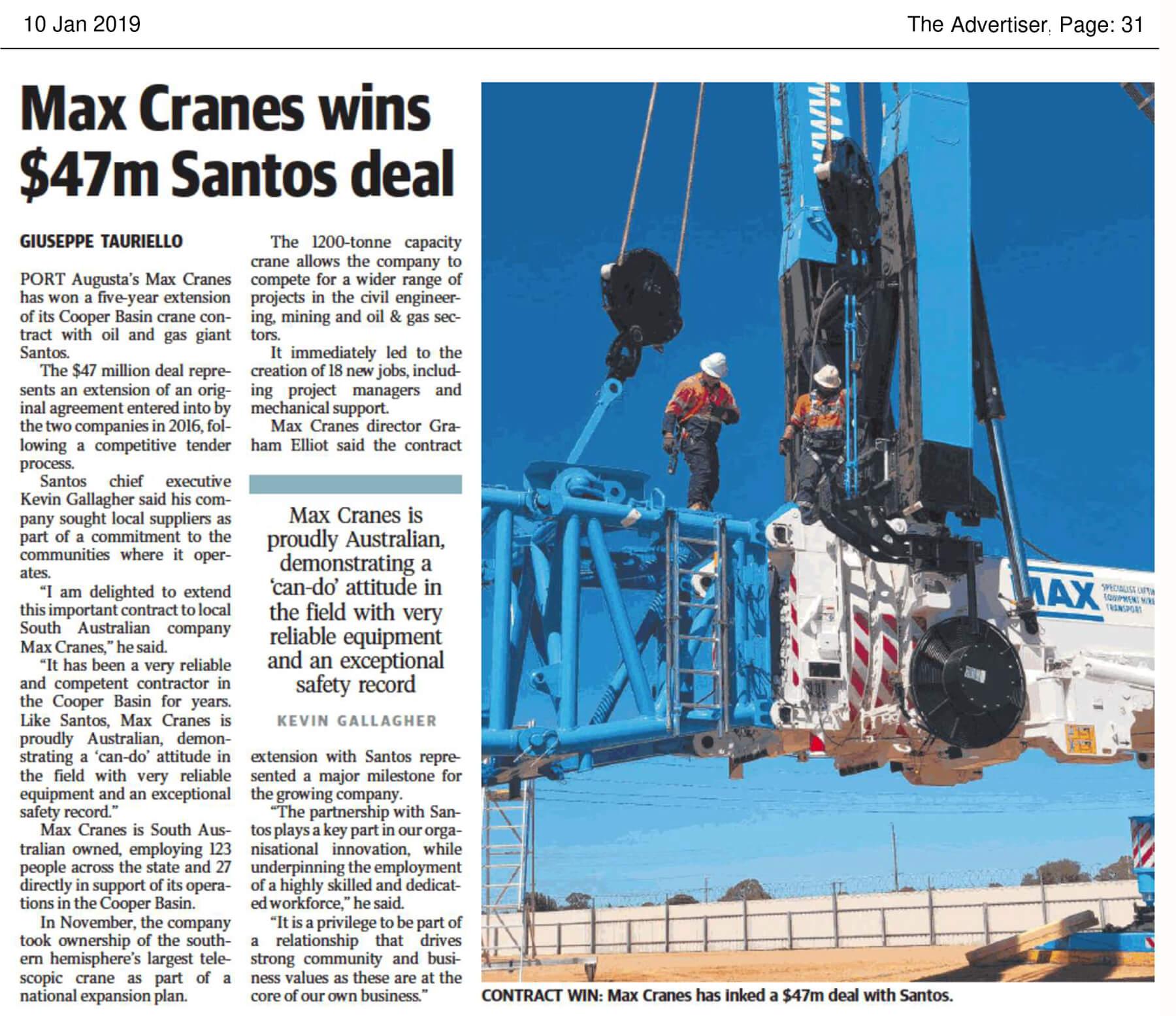 MAX Cranes wins $47m Santos Deal