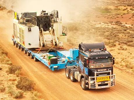 Transporting Liebherr R9350 Excavator